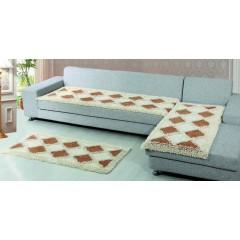 Комплект лапша диван 0.7x2.3 и 2 кресла 0.7x1.5 (белый-темно-бежевый)