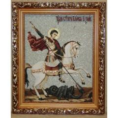 Икона гобеленовая (Чудо Георгия о змие)