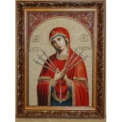 Икона гобеленовая (Семистрельная икона Божией Матери)