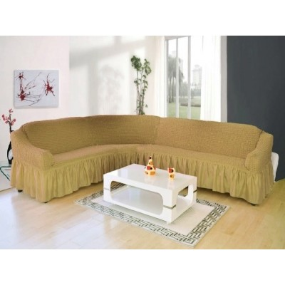 Чехол на угловой диван (бежевый)
