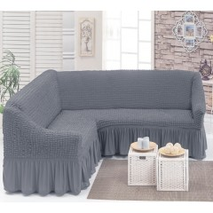 Чехол на угловой диван (серый)