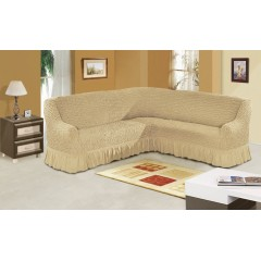 Чехол на угловой диван (светло-бежевый)