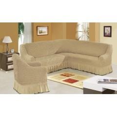 Комплект чехлы на угловой диван и кресло (бежевый)