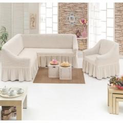Комплект чехлы на угловой диван и кресло (кремовый)