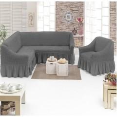 Комплект чехлы на угловой диван и кресло (серый)