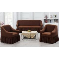 Комплект чехлы на диван и кресла (коричневый)