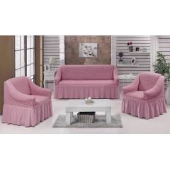 Комплект чехлы на диван и кресла (розовый)