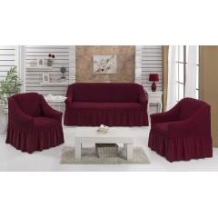 Комплект чехлы на диван и кресла (бордо)